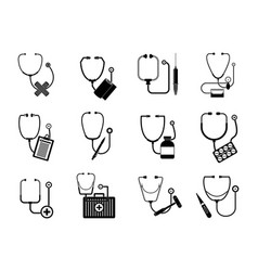 phonendoscope stethoscope icons set simple style vector image