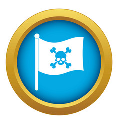Pirate flag icon blue isolated vector