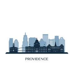 providence skyline monochrome silhouette vector image
