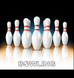 Realistic bowling white pins in game club vector