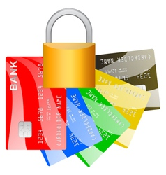 Realistic credit cards and pad lock over white vector image