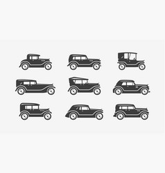 retro cars icon set transport transportation vector image