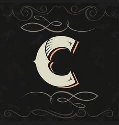 retro style western letter design letter c vector image
