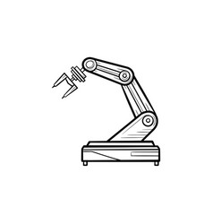 robotic arm hand drawn outline doodle icon vector image