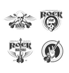 rock music vintage emblems labels badges vector image