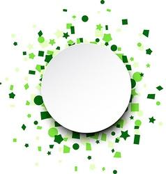 Round paper card over green confetti vector