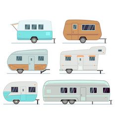 Rv camping trailers travel mobile home caravan vector