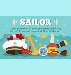 Sailor concept banner flat style vector