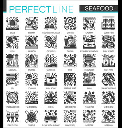 seafood classic black mini concept icons vector image