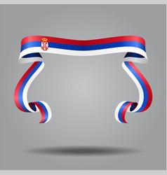 Serbian flag wavy ribon background vector