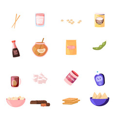 set icons wooden chopsticks soy milk sauce vector image