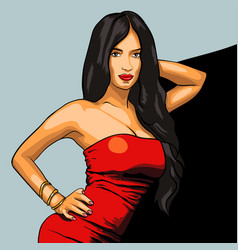 sexy woman in red dress on a background eps vector image