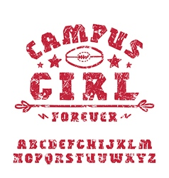 Slab serif font hand drawn girl vector