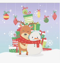 snowman and bear with scarf and many gift boxes vector image
