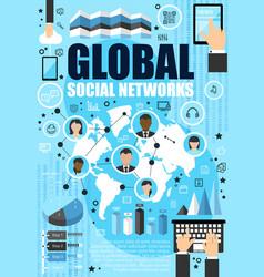Social media network and internet vector