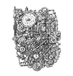 steampunk mechanism print hand drawn vector image