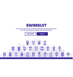 Swimsuit woman clothes landing header vector