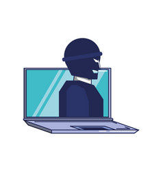 thief man in laptop computer vector image