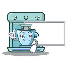 thumbs up with board coffee maker character vector image