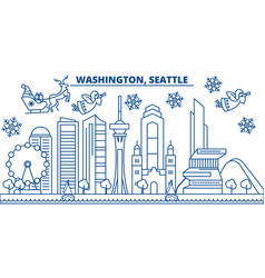 usa washington seattle winter city skyline vector image