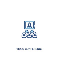 Video conference concept 2 colored icon simple vector