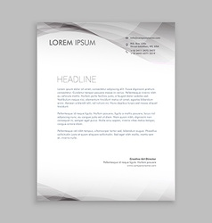 Wave style business letterhead design vector