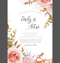 wedding floral invite card design fall leaves rose vector image