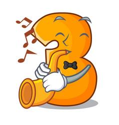 With trumpet cartoon number three on wooden door vector