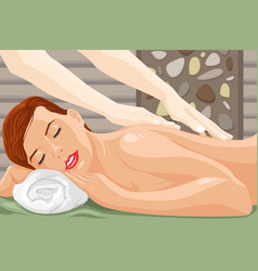 woman enjoying a massage vector image
