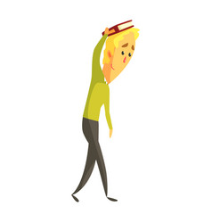 young blond man standing and holding a book on his vector image
