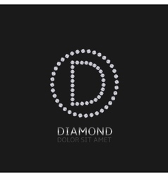 D letter with diamonds vector image vector image