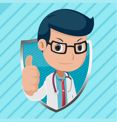 doctor mascot shield symbol logo vector image vector image