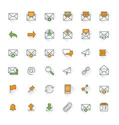 Email flat design icon set envelope link download vector