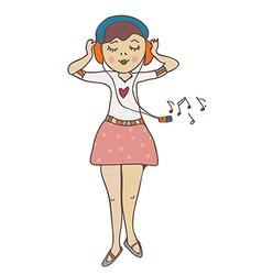 Girl listening to music funny cartoon vector image