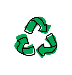 green recycle sketch hand drawn vector image