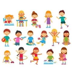 Kids silhouettes set vector image