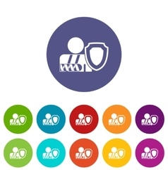 oken arm and safety shield set icons vector image