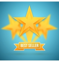 Set of Gold Stars Icon Best Seller Gold vector image