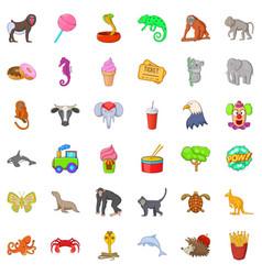 animal zoo icons set cartoon style vector image vector image