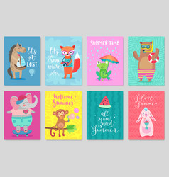 animals card set hand drawn style summer theme vector image vector image