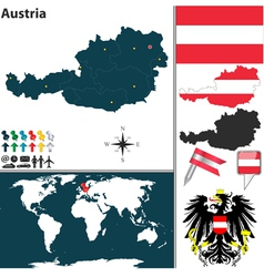 Austria map world vector image vector image