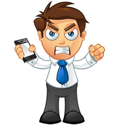 Business Man Angry With Mobile vector image vector image