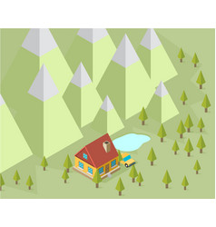 landscape with house and trees in the isometric vector image vector image