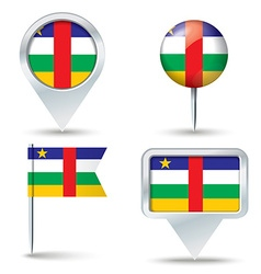 Map pins with flag of Central African Republic vector image