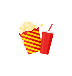 popcorn striped bucket and soda with straw vector image