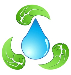 recycling water drop with leaf vector image