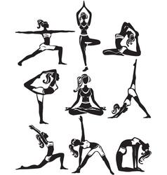 Set of meditating and doing yoga poses vector image