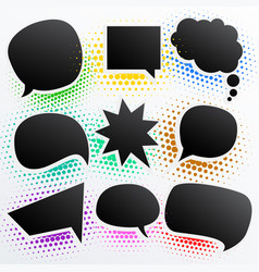 collection of black comic empty chat bubble vector image