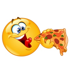 emoticon eating pizza vector image