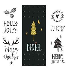 Hand drawn Christmas holiday collection vector image